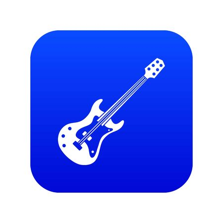 Classical electric guitar icon digital blue for any design isolated on white vector illustration