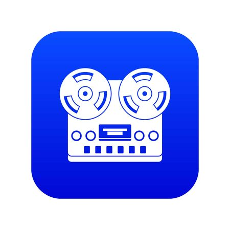 Retro tape recorder icon digital blue for any design isolated on white vector illustration