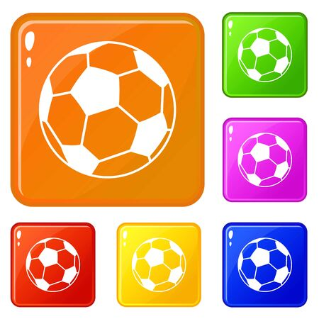 Soccer ball icons set vector color Illustration