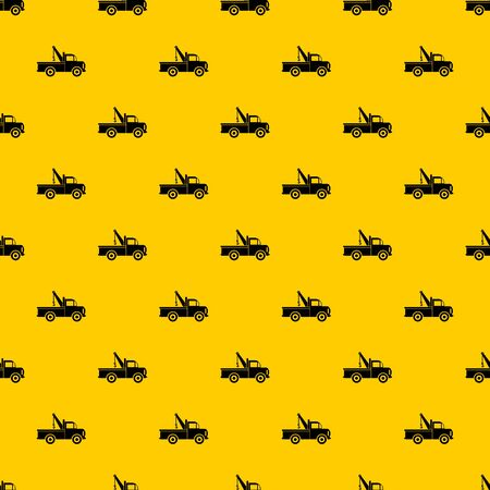 Car towing truck pattern seamless vector repeat geometric yellow for any design