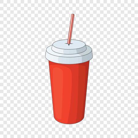 Paper cup with straw icon. Cartoon illustration of paper cup with straw vector icon for web design Ilustração