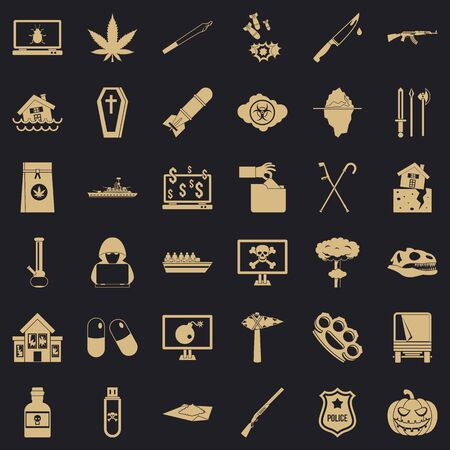Callousness icons set, simple style Ilustração