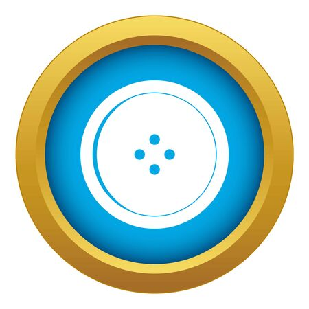 Round sewing button icon blue vector isolated on white background for any design