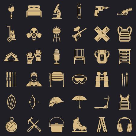 Additional equipment icons set. Simple set of 36 additional equipment vector icons for web for any design