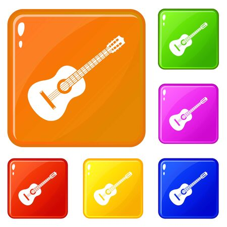Guitar icons set collection vector 6 color isolated on white background