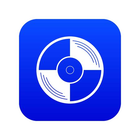 Vinyl record icon digital blue for any design isolated on white vector illustration 일러스트
