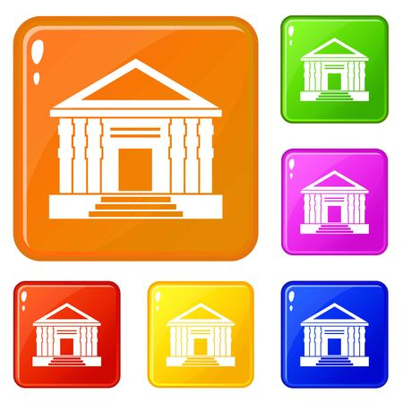 Colonnade icons set vector color