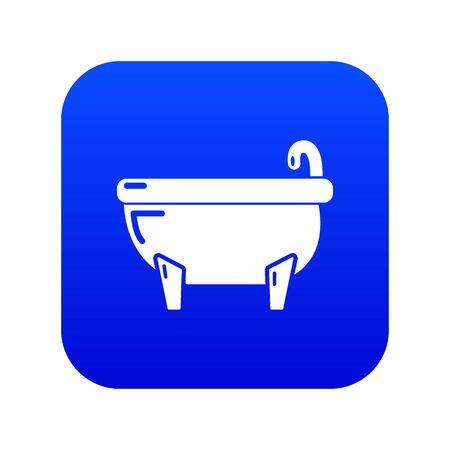 Bathtub icon blue vector isolated on white background Stock Illustratie