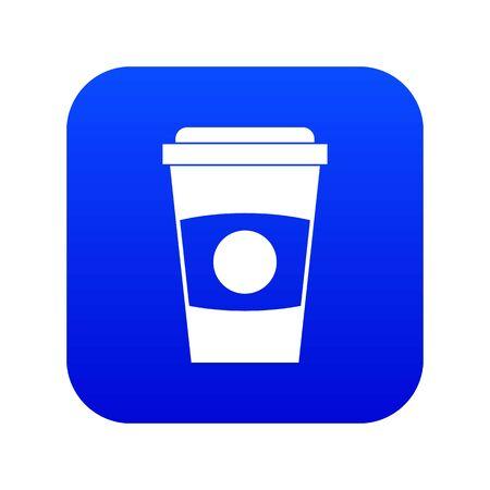 Paper coffee cup icon digital blue Vectores
