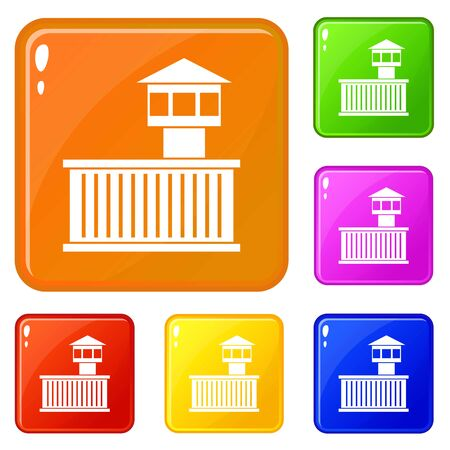 Prison tower icons set vector color