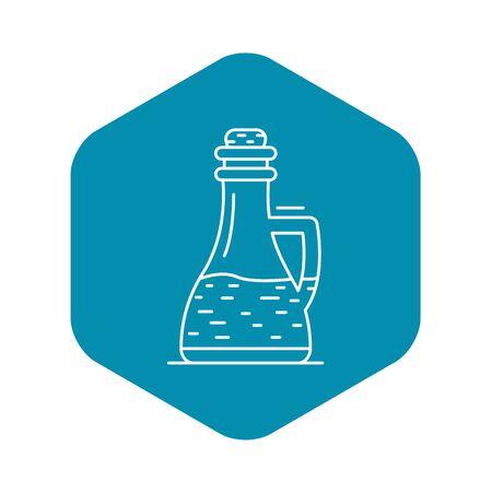 Icono de vinagre de botella de vidrio, estilo de contorno