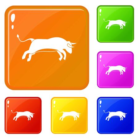 Bull icons set vector color Illustration