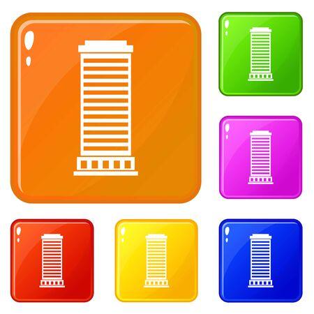 Column icons set vector color