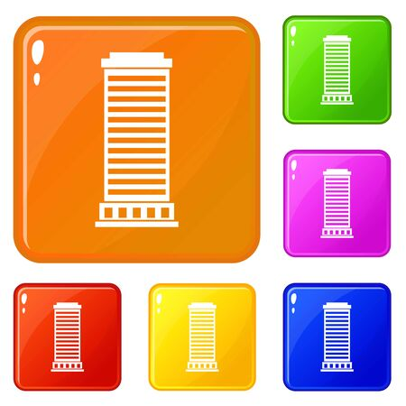 Column icons set vector color