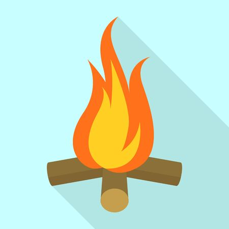 Campfire icon, flat style