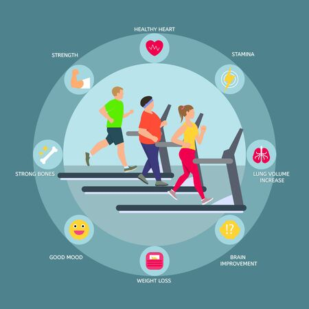Treadmill concept background, flat style