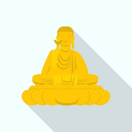 Buddha statue icon, flat style