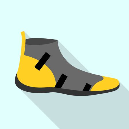 Rafting shoes icon, flat style