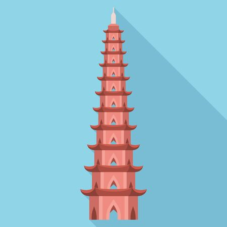 Pagoda tower icon. Flat illustration of pagoda tower vector icon for web design 向量圖像