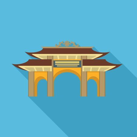 Pagoda gate icon. Flat illustration of pagoda gate vector icon for web design