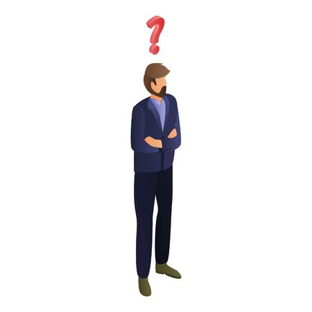 Man having question icon, isometric style Çizim
