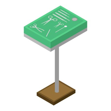 Green surgical stand icon. Isometric of green surgical stand vector icon for web design isolated on white background Illustration