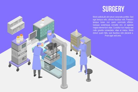 Surgery concept banner. Isometric illustration of surgery vector concept banner for web design