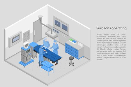 Surgeons operating concept banner. Isometric illustration of surgeons operating vector concept banner for web design