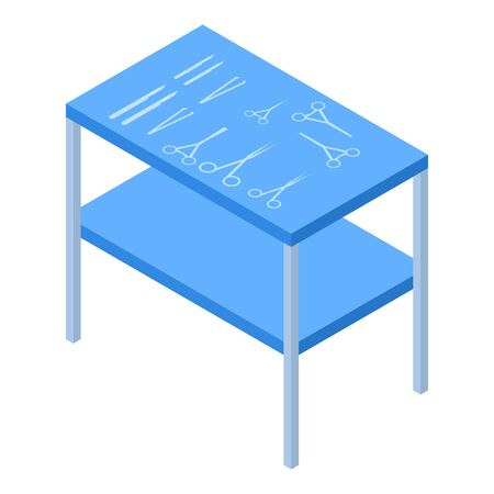 Surgery tool table icon. Isometric of surgery tool table vector icon for web design isolated on white background