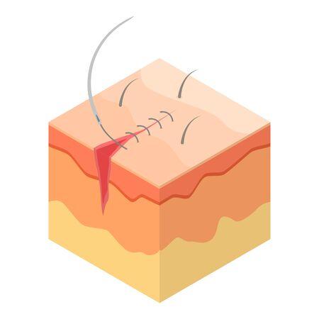 Ikona szwu chirurgicznego. Izometryczne ikony wektora szwu chirurgicznego do projektowania stron internetowych na białym tle