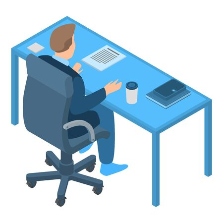 Office worker icon. Isometric of office worker vector icon for web design isolated on white background Illustration