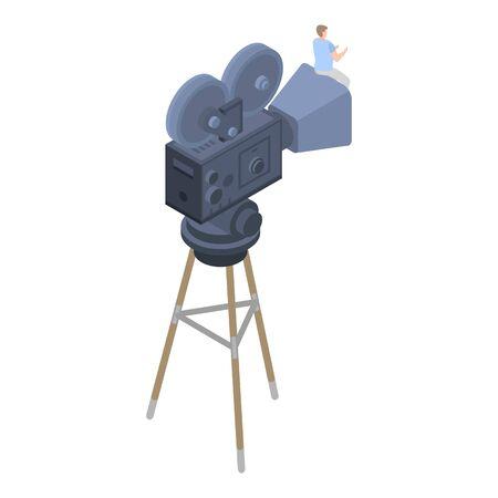 Retro film camera icon, isometric style