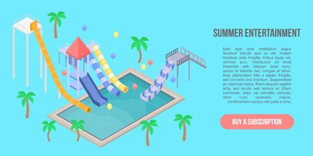 Summer entertainment concept banner, isometric style Illustration