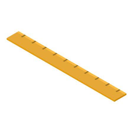 Yellow ruler icon, isometric style