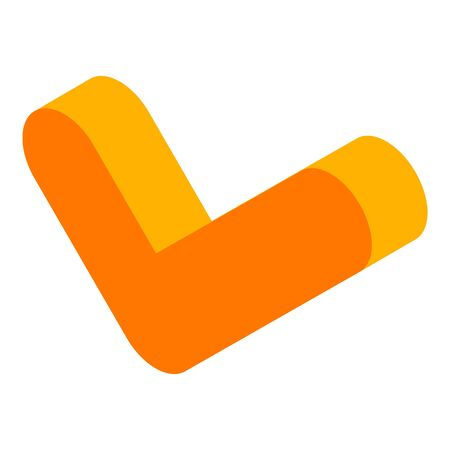 Orange yes mark icon, isometric style Illustration