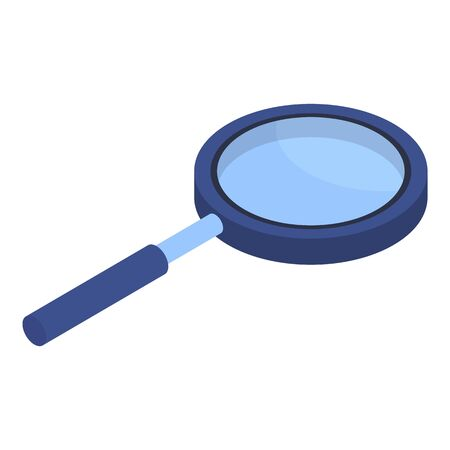 Blue magnify glass icon. Isometric of blue magnify glass vector icon for web design isolated on white background