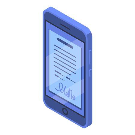 Smartphone digital signature icon, isometric style Vector Illustration