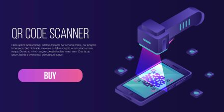 Qr code scanner concept banner, isometric style