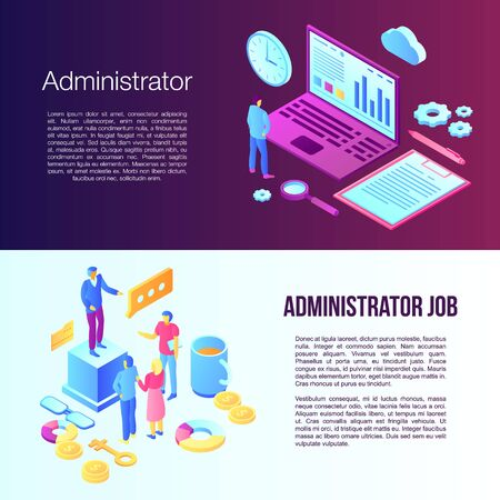 Administrator banner set, isometric style 向量圖像