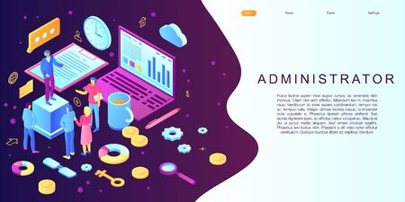 Admin concept banner, isometric style