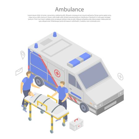 Ambulance car concept banner. Isometric illustration of ambulance car vector concept banner for web design