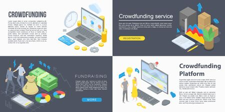 Crowdfunding banner set, isometric style