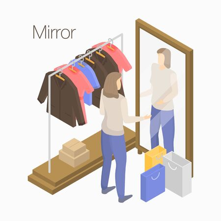 Mirror concept banner. Isometric illustration of mirror vector concept banner for web design