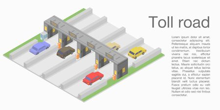 Toll road concept banner, isometric style