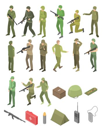 Soldier military icons set. Isometric set of soldier military vector icons for web design isolated on white background