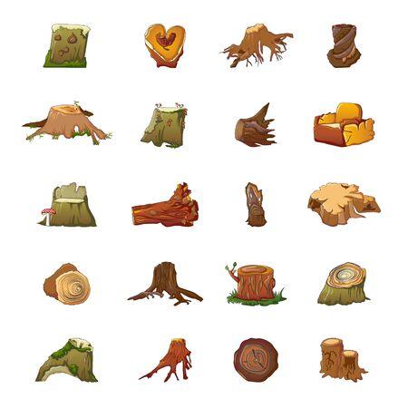 Stumps icons set, cartoon style Illustration