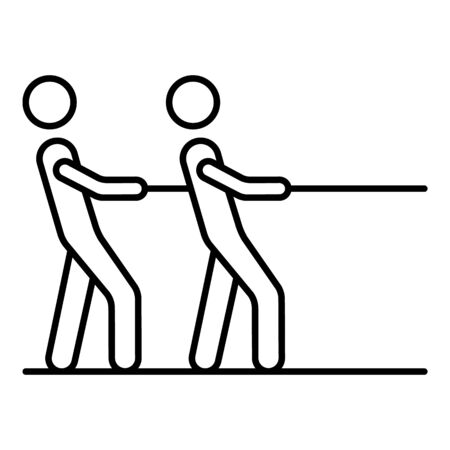 Two man tug of war icon. Outline two man tug of war vector icon for web design isolated on white background