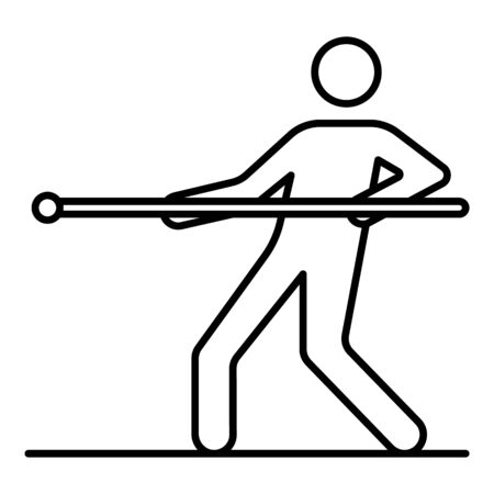 One man tug of war icon, outline style