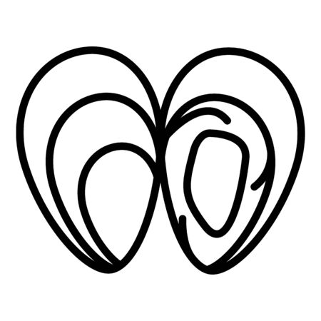 Open mussels icon, outline style Vettoriali