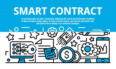 Smart contract banner. Outline illustration of smart contract vector banner for web design Illustration